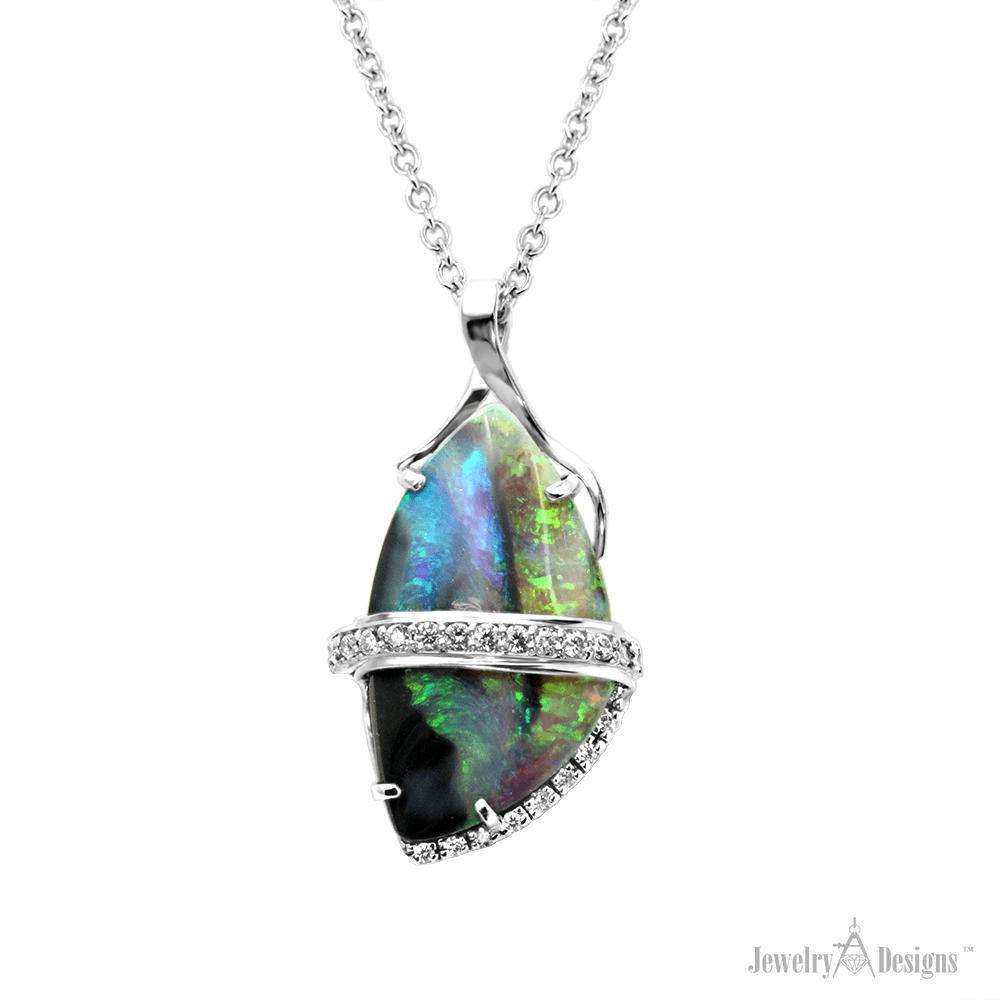 NC717-1 Australian Boulder Opal Necklace