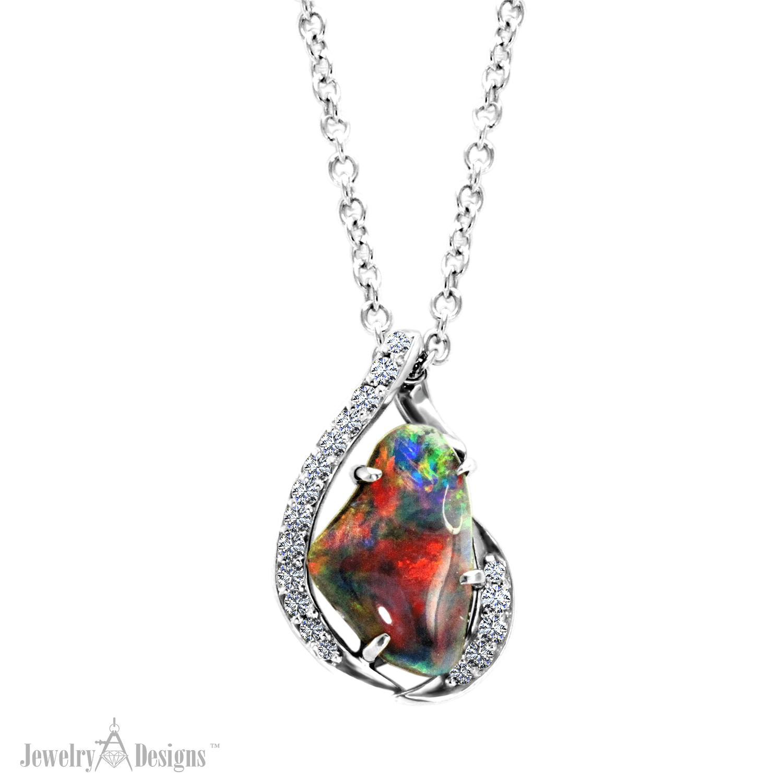 NC718-1 Fiery Black Opal Necklace