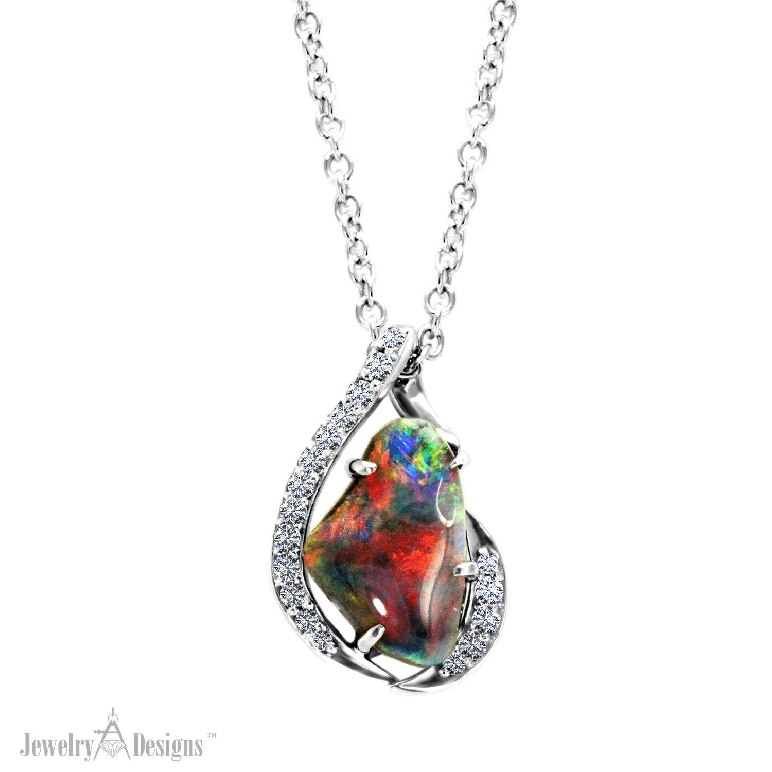 NC718-1 Fiery Black Opal Necklace