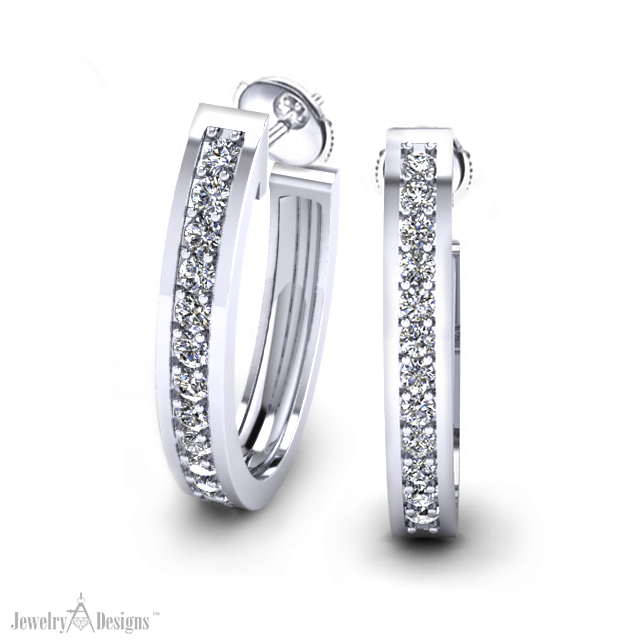 ED495-1-HT3 Classic Diamond Hoop Earrings