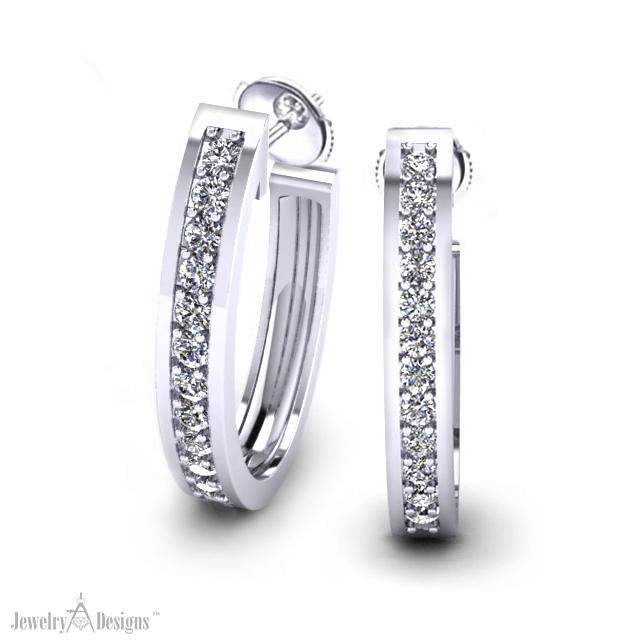 ED495-1-HT3 Classic Diamond Hoop Earrings