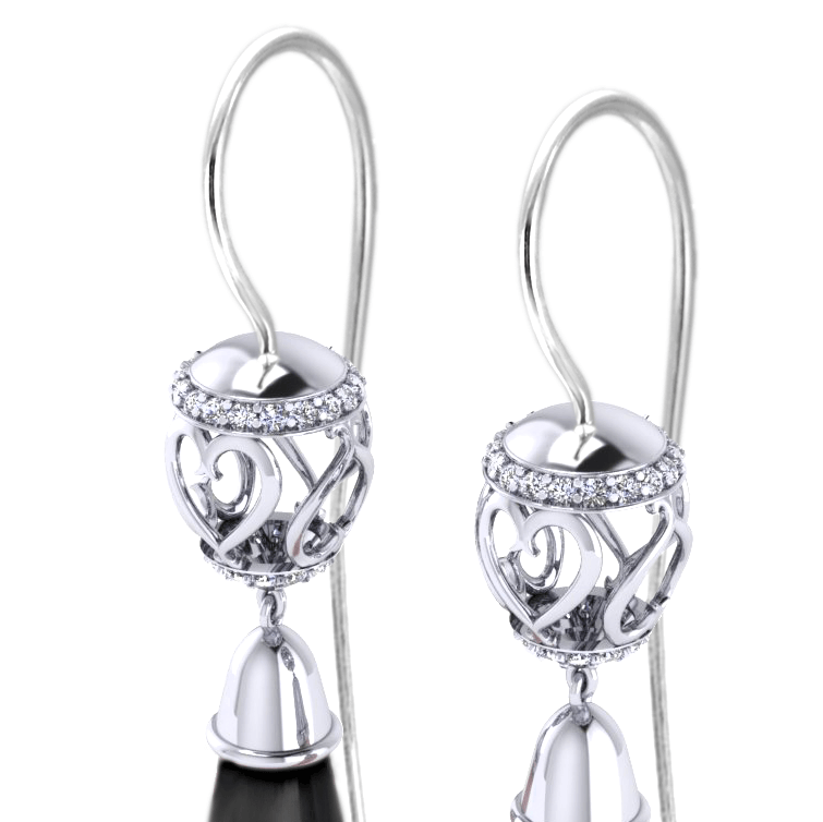 EC898-ONYX Diamond Onyx Drop Earrings