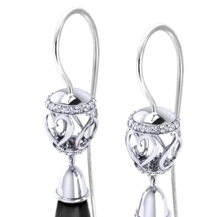 EC898-ONYX Diamond Onyx Drop Earrings