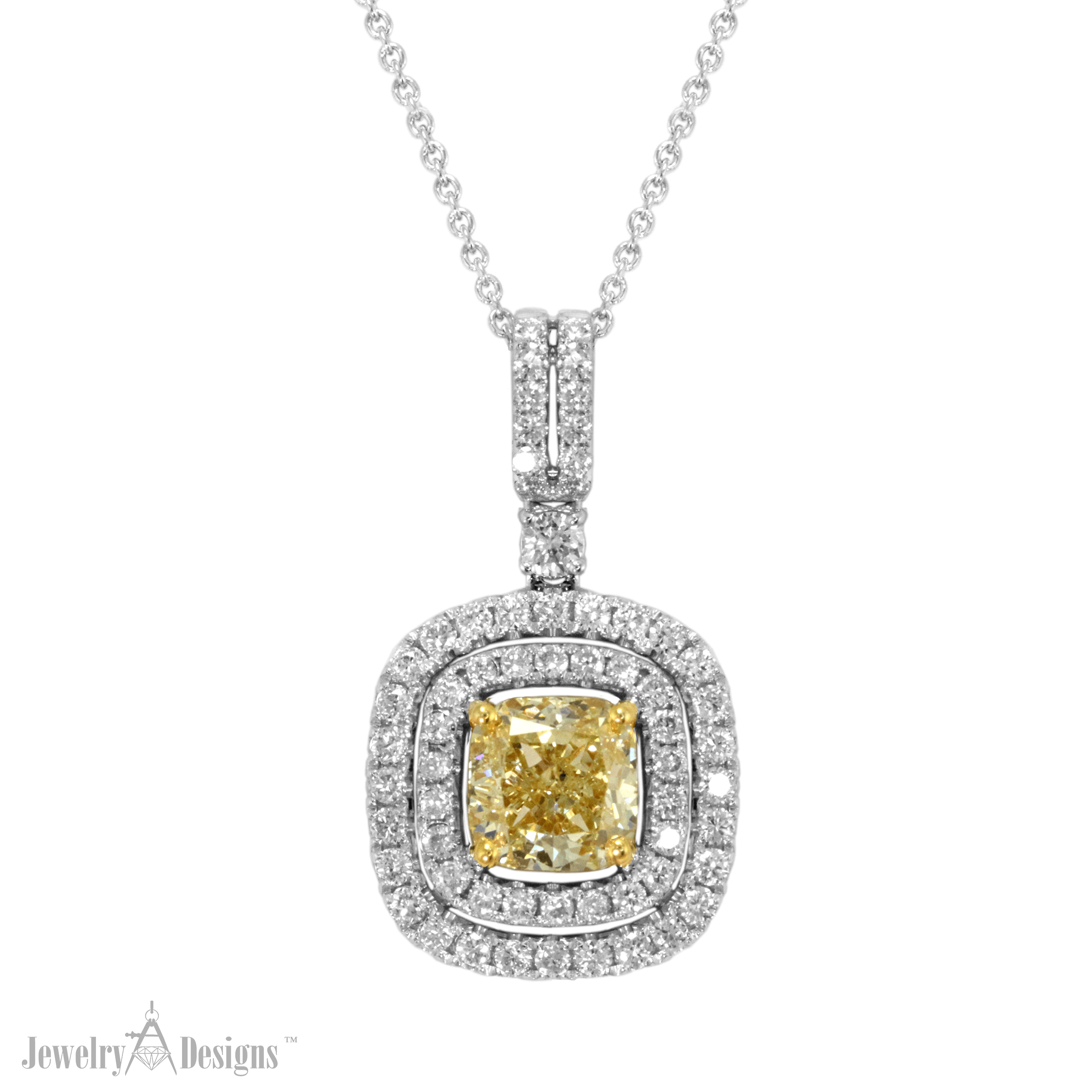 YD283-1-H Cushion Cut Yellow Diamond Necklace