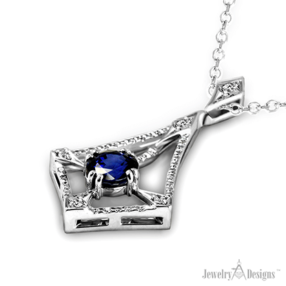 NP160 Cushion Sapphire Necklace