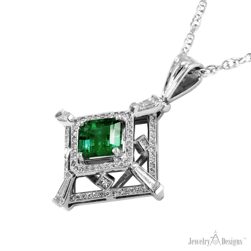 NP159-1-H Tiered Emerald Necklace
