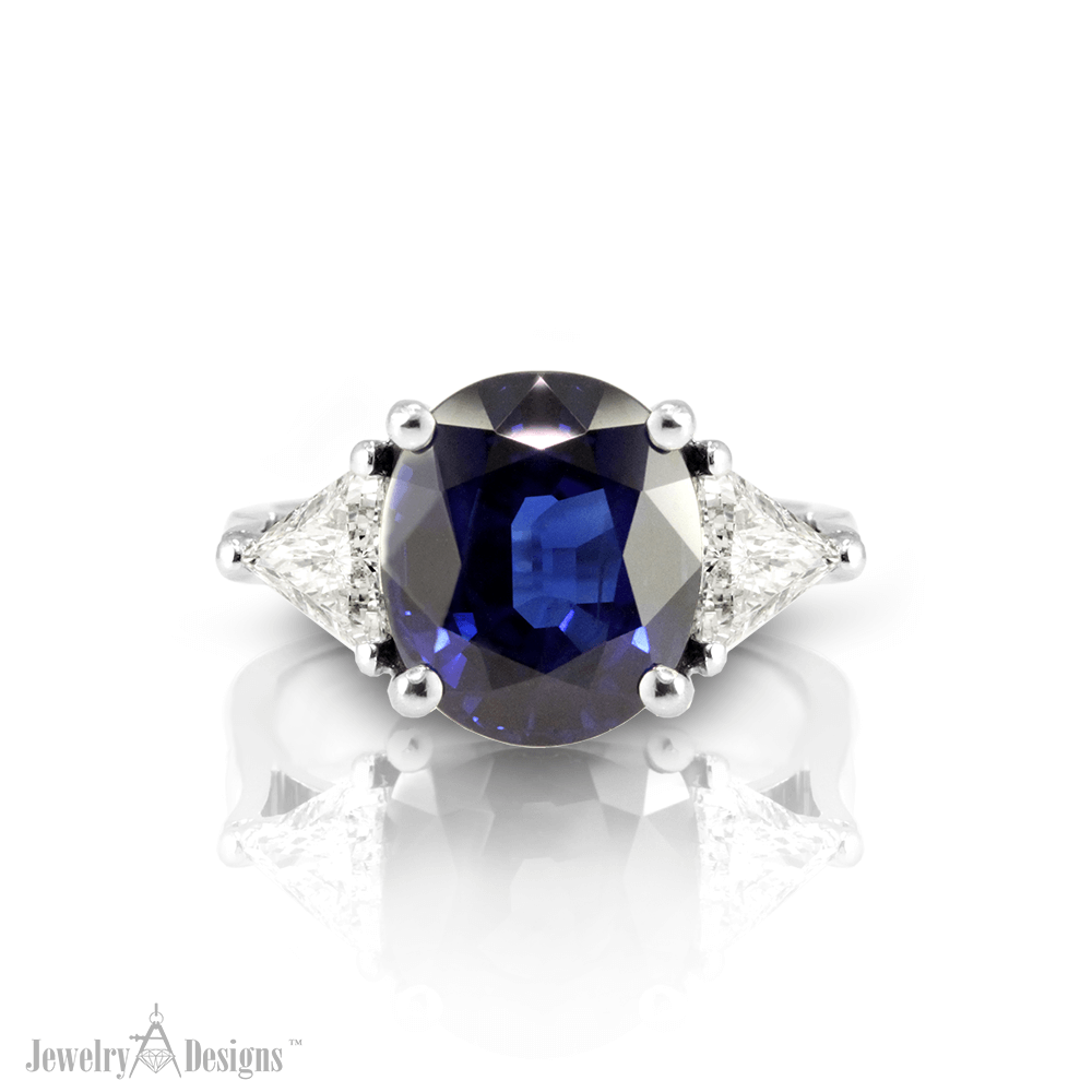 CP080-4 Sapphire and Trilliant Diamond Ring