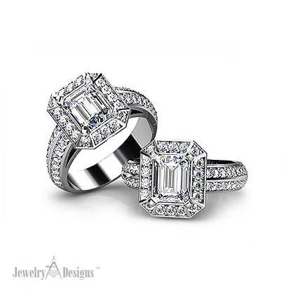 C136110 Emerald Cut Diamond Ring