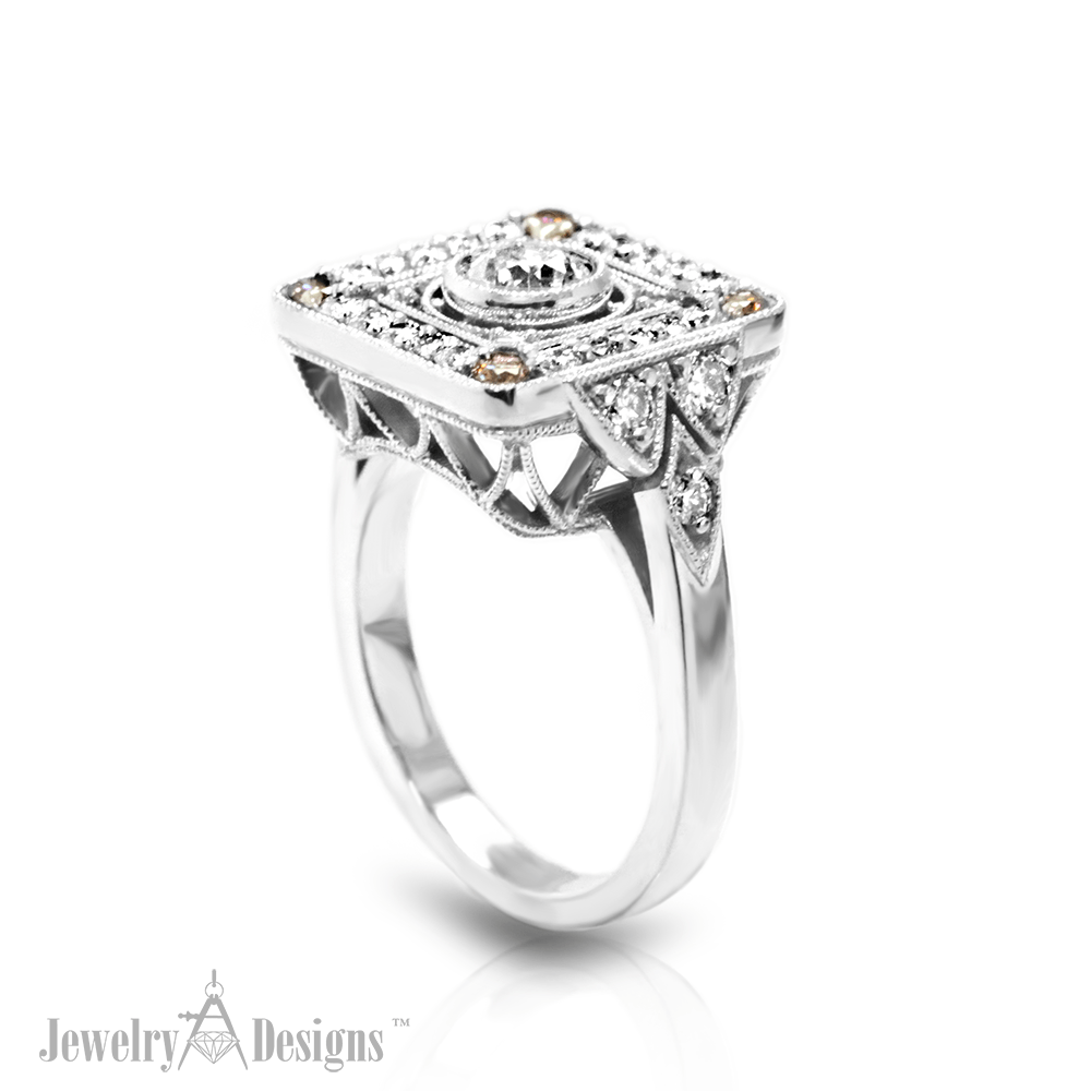 C147934 Elegant Filigree Diamond Ring