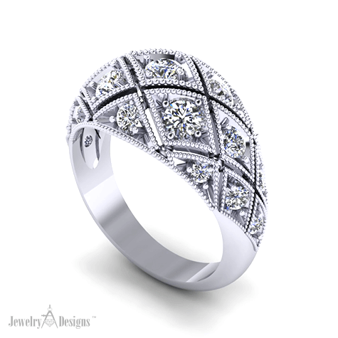 C151615 Art Deco Diamond Dome Ring