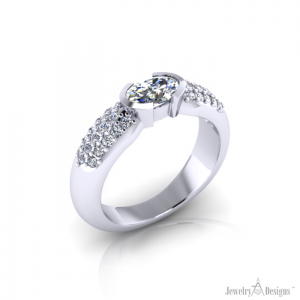 Oval Diamond Pave' Ring angle