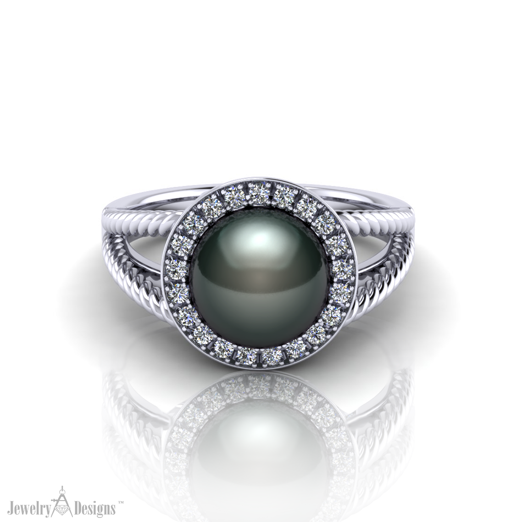 black pearl halo ring jewelry designs