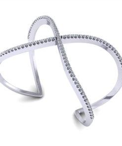Crossover Diamond Bangle Bracelet