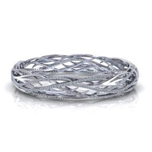 Woven Diamond Bangle Bracelet