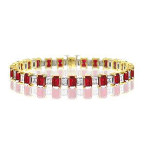 BP068-1-Emerald Cut Ruby Bracelet