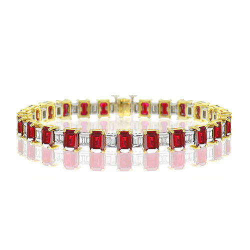 BP068-1-Emerald Cut Ruby Bracelet
