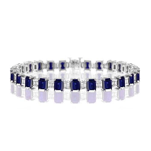 BP068-2-Emerald Cut Sapphire Bracelet