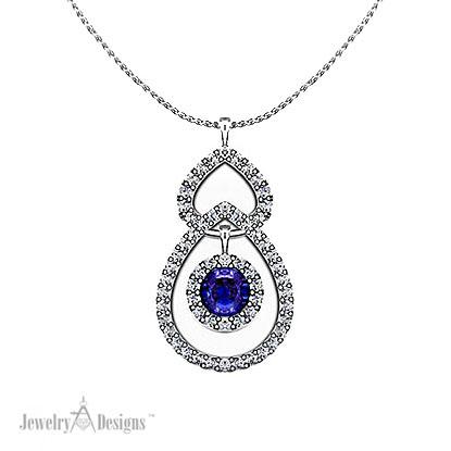 C138177 Sapphire Tear Drop Pendant