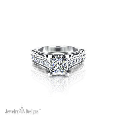 C141212-1 Scrolled Princess Diamond Ring