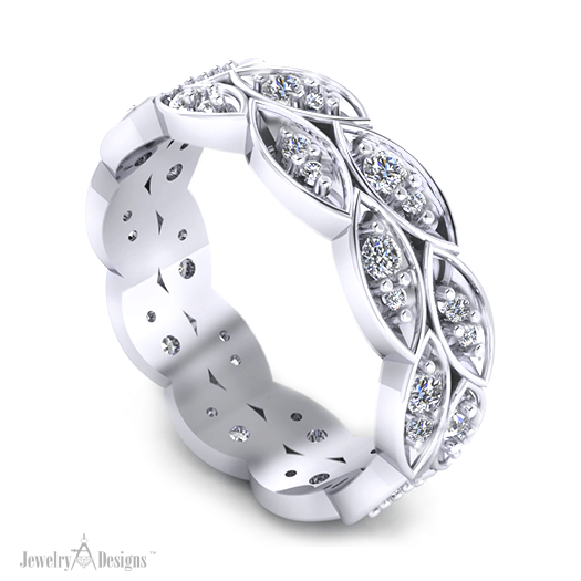 C145972 Diamond Leaf Wedding Ring