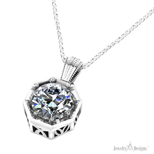 C147560 Diamond Hexagonal Necklace