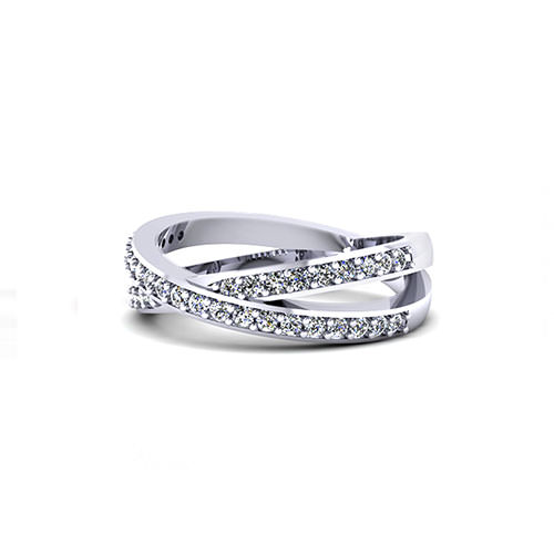 Diamond Cross Over Wedding Ring