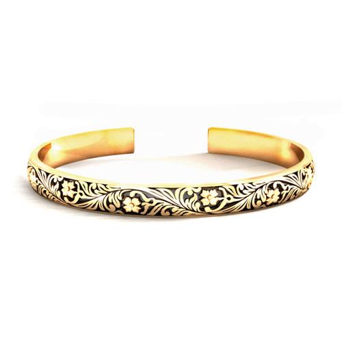 Gold Floral Pattern Bracelet
