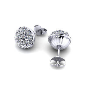 C148543-Domed Diamond Cluster Earrings