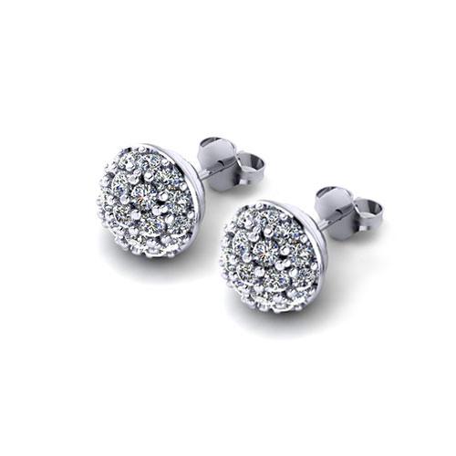 C148543-Domed Diamond Cluster Earrings
