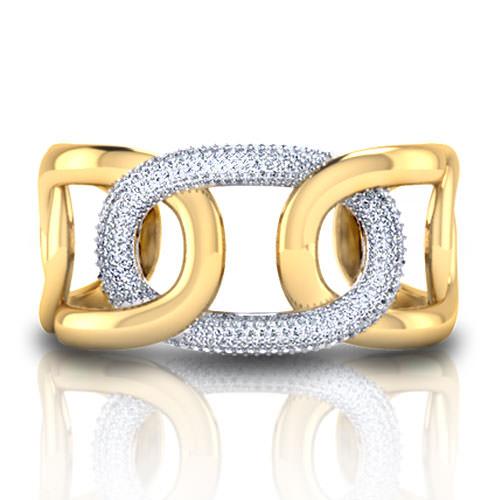 C151133-Pave Link Cuff Bracelet