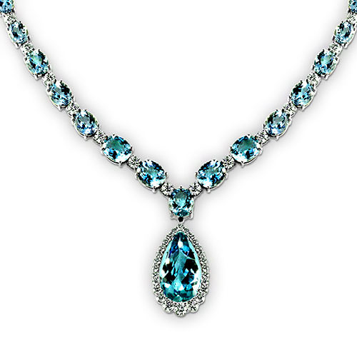 Pear Shape Aquamarine Necklace