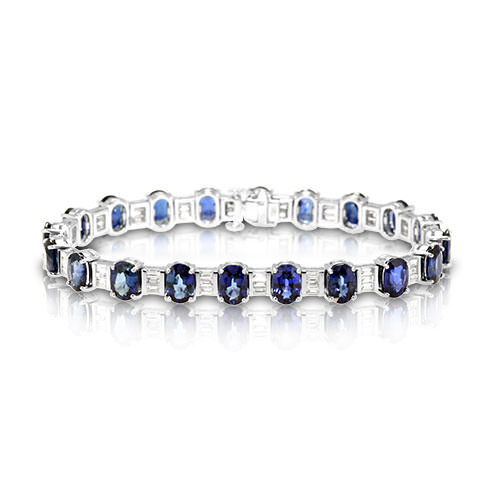 C153111-Oval Sapphire and Diamond Bracelet