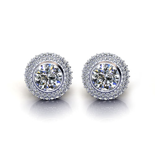 Bezel Set Diamond Earrings