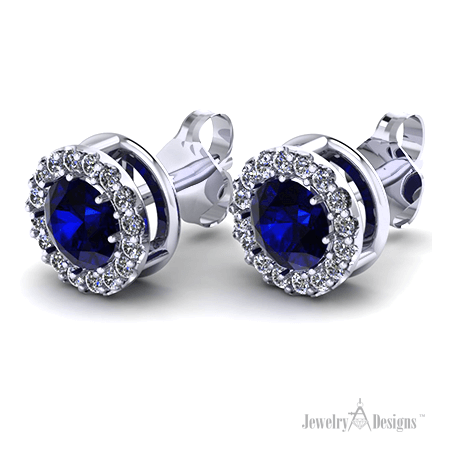 CAD179 Sapphire Halo Earrings