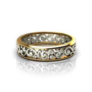 Scroll Pattern Wedding Ring