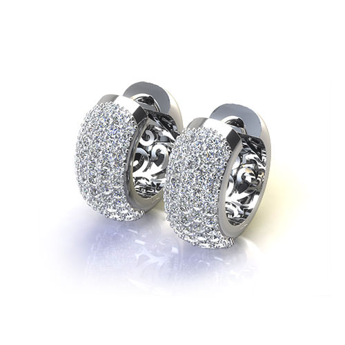CAD371-Pave Hoop Earrings