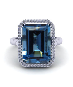 Emerald Cut Blue Topaz Halo Ring