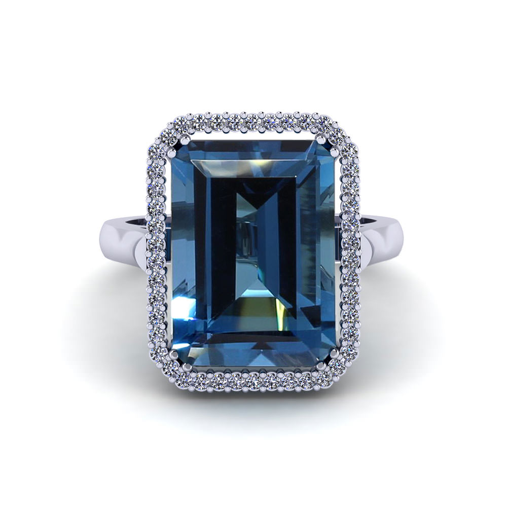 Emerald Cut Blue Topaz Halo Ring
