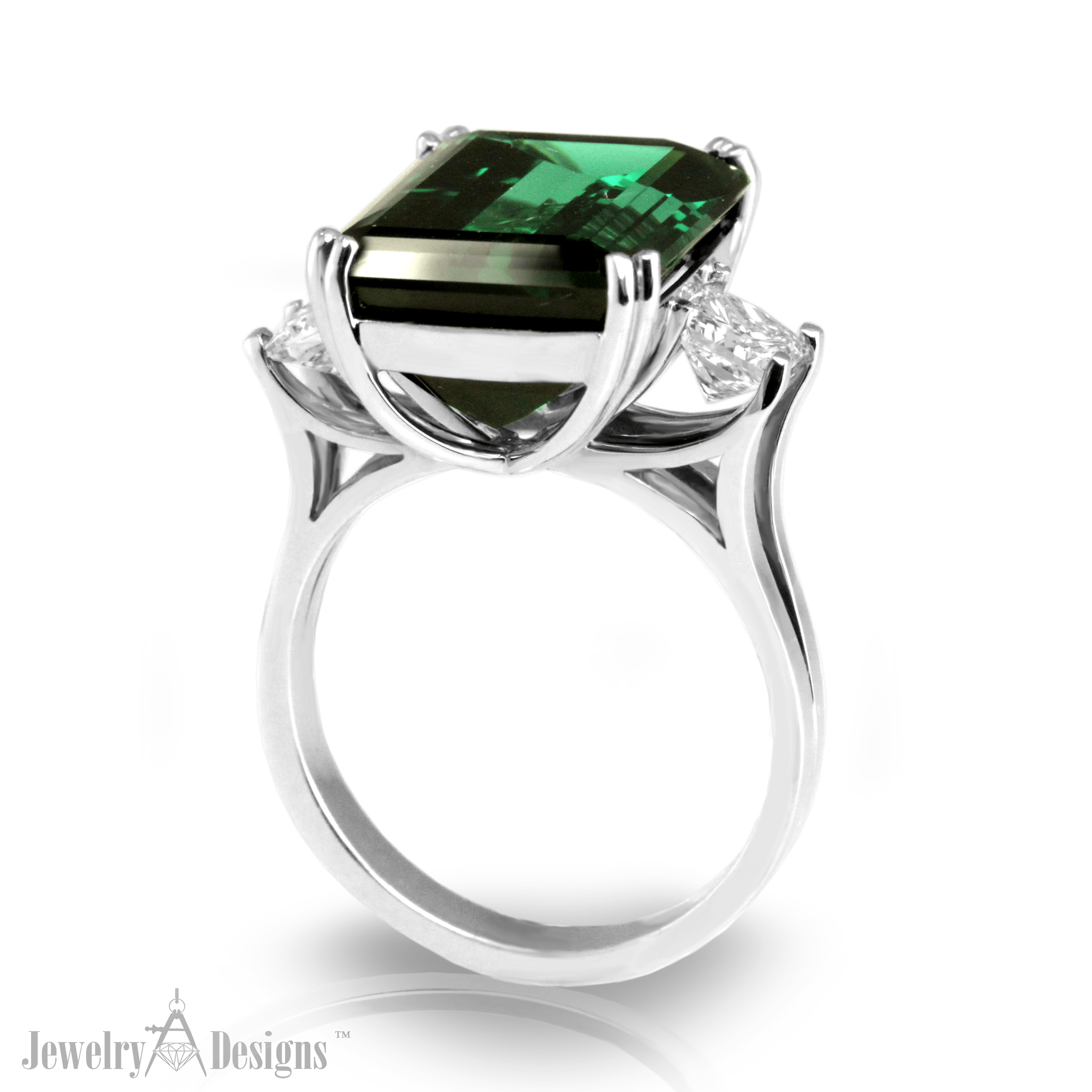 CC111-1-H Emerald Cut Green Tourmaline Ring
