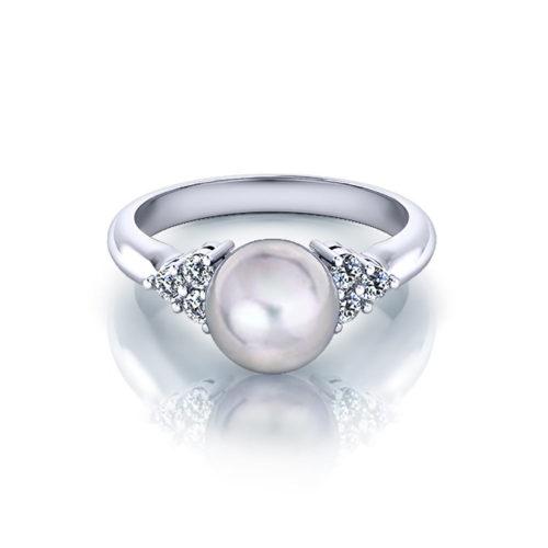 Classic Diamond Pearl Ring