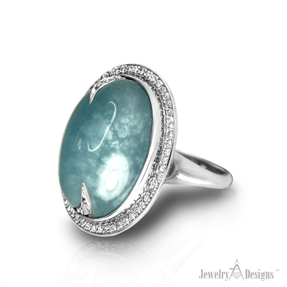 CC125-1 Cabochon Aquamarine Ring