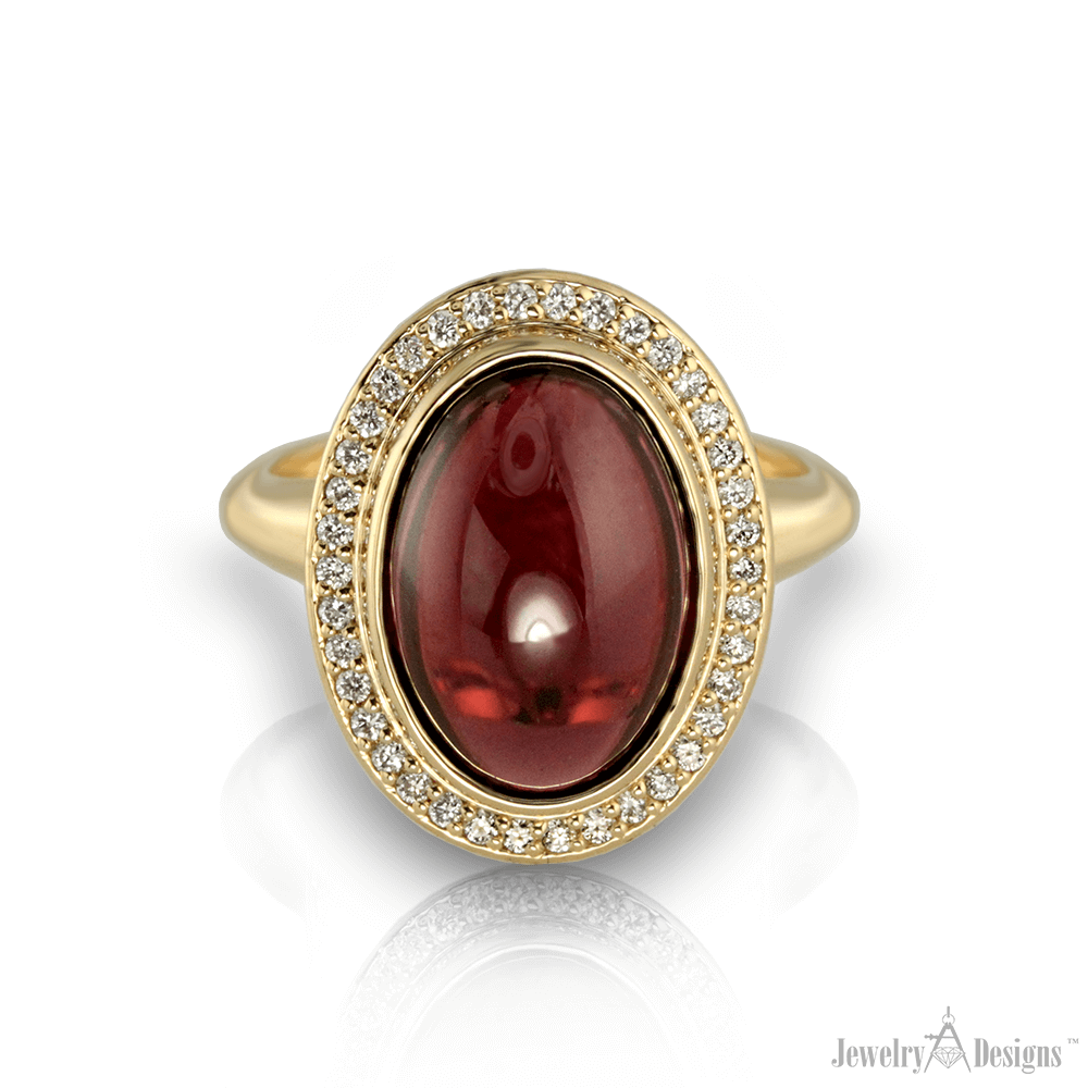 CC128-1-H Gold Cabochon Garnet Ring