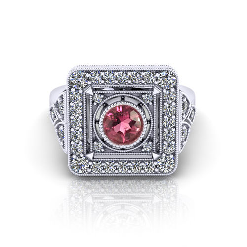 Vintage Pink Tourmaline Ring