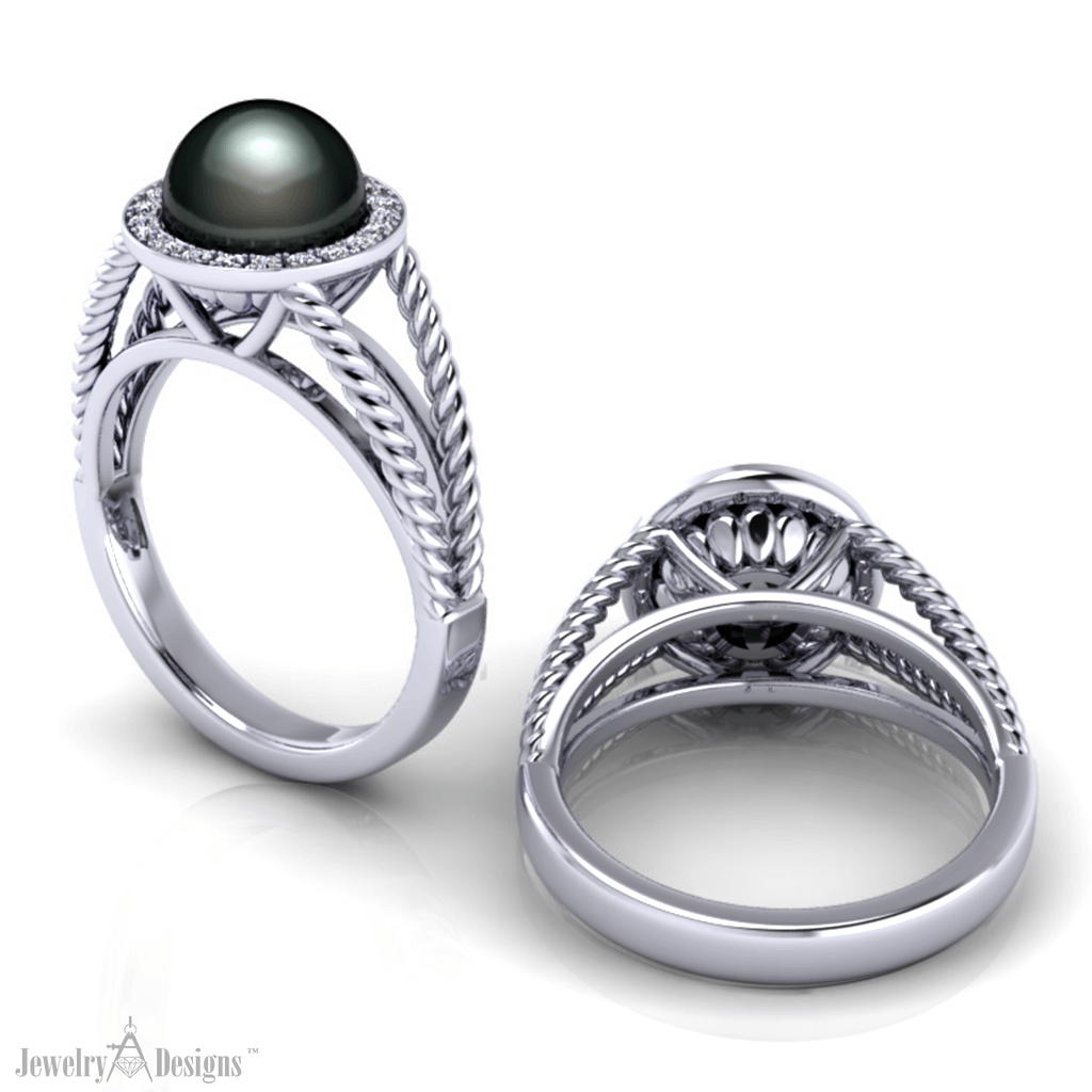 CC133-1-HT3 Black Pearl Halo Ring