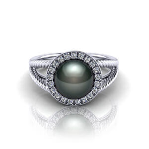 Black Pearl Halo Ring