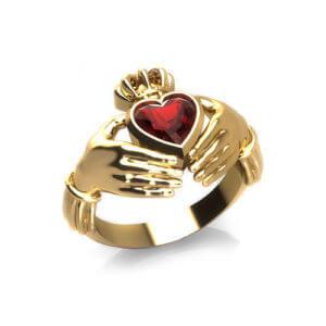 Garnet Claddagh Ring