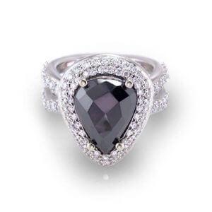 Pear Shape Black Diamond Ring