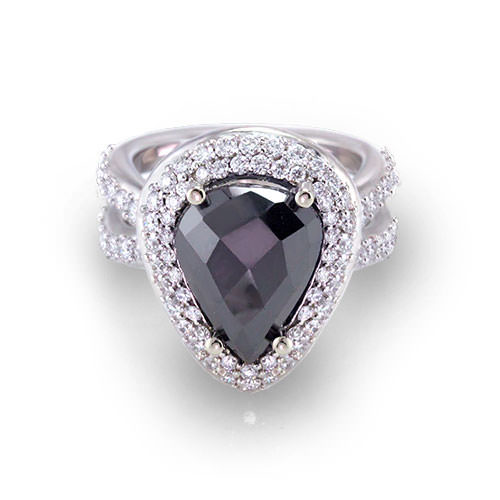 Pear Shape Black Diamond Ring