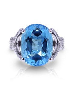 Large Blue Topaz Ring