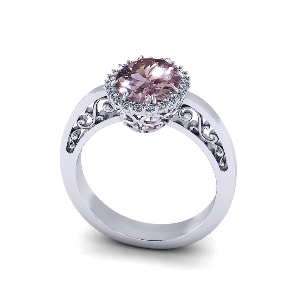 Filigree Halo Morganite Ring
